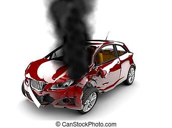 auto, brennen, rotes