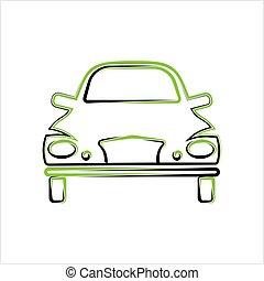 auto, calligraphic, front, design, ansicht, stilvoll