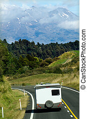 Auto-camper on the move, motorhome on holiday in Mt Ruapehu,...