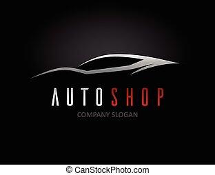 Auto car dealer logo design with concept sports vehicle silhouette