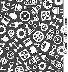 Auto Car Spare Parts Seamless Pattern on Dark Background....