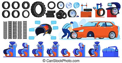 Auto car tire production vector illustrations, cartoon flat automotive industry set with car wheel tyre products, track traces