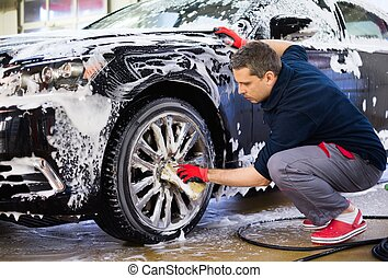 auto, car's, legierung, wäsche, mann, waschen, räder, ...
