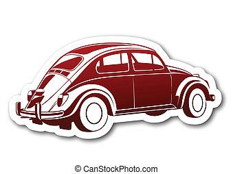 auto, carta, vecchio, rosso, dolce