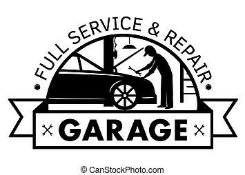 Auto center, garage service and repair logo, Vector Template