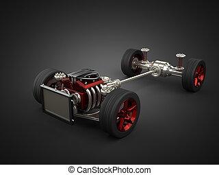 auto, chassis, mit, motor, und, räder