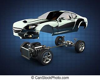 auto, chassis, mit, motor, von, luxus, brandless, sportcar