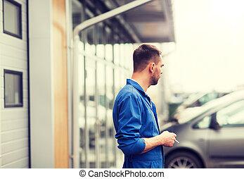 auto, cigarette, atelier, mécanicien, voiture, fumer