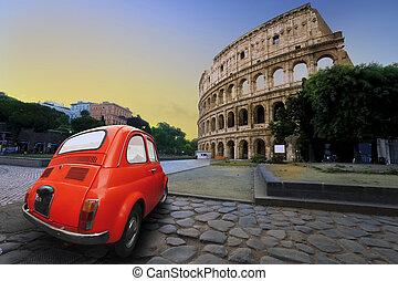 auto, colosseum, oud, achtergrond
