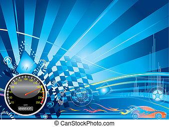 auto, concept, het snelen
