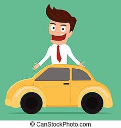 auto., concept., zakenman, investering