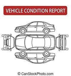 Vehicle condition report (car checklist, auto damage inspection) vector
