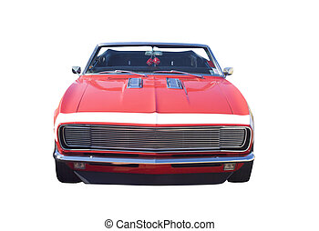 auto, converteerbaar, muscle, rood