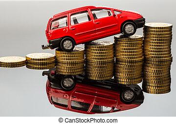 auto, costs., geldmünzen, steigend