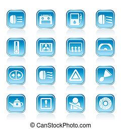 auto, dashboard, iconen