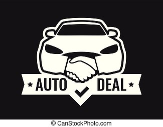 Auto Deal - Logo for car Dealership isolated on black color