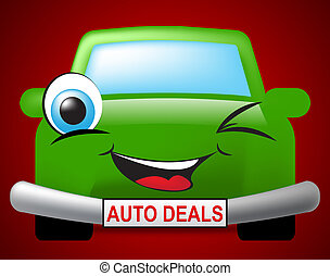 Auto Deals Indicates Bargain Car 3d Illustration