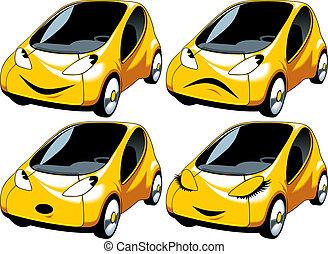 auto di dimensioni compatte, berlina compatta, disegno, giallo