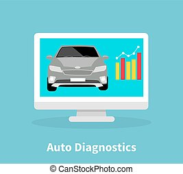 Auto Diagnostics Monitor Flat Concept