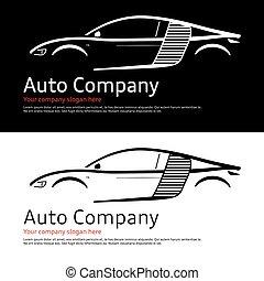 auto, ditta, logo.