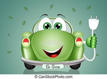 auto, ecologisch, groene