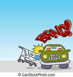 auto, einkaufswagen, beschädigen