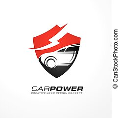 Auto electric logo design with shield shape and car in...