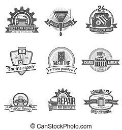 auto, emblème, service