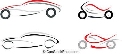 auto, en, motorfiets