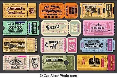 auto, en, paard te rennen, retro, kaartjes
