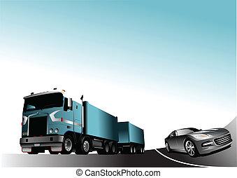 auto, en, vrachtwagen, op, de, road., vector
