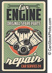 Auto engine, car repair service