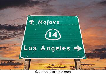 auto-estrada, céu, sinal, angeles, los, pôr do sol, deserto ...