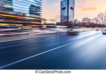 auto-estrada, dirigindo, car, borrão moção, pôr do sol