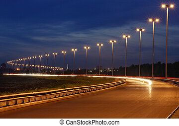 auto-estrada, road., mais claro, mastro, noturna, iluminação