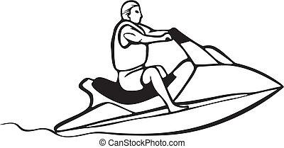 auto, et, bateau, courses
