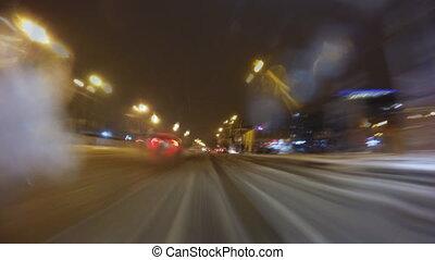 auto, fahren, auf, a, nacht, stadt- straße, an