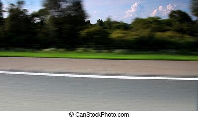 auto, fahren, auf, der, landstraße