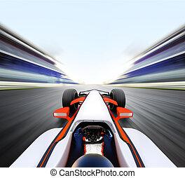 auto, fahren, auf, hohe geschwindigkeit, straße