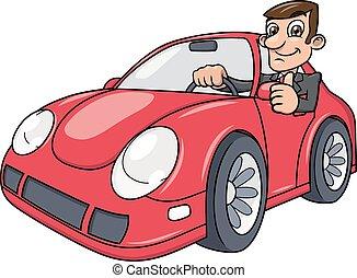 auto, fahren, geschäftsmann
