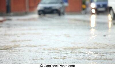 auto, fahren, in, regen