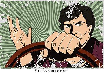 auto., fahren, mann
