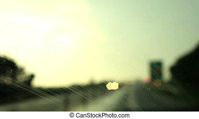 auto, fahren, und, regen fällt, auf, der, g