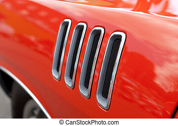 auto fender, muscle, luchtopeningen