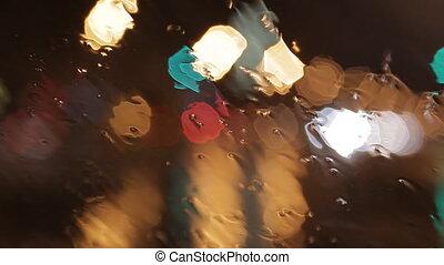 auto- fenster, regen, nacht, hintergrund, defocused