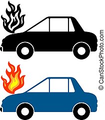 auto, feuer