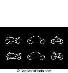 auto, fiets, en, motorfiets, -, vector, ik