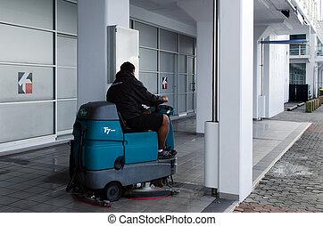 Auto Floor Cleaning Machine - AUCKLAND, NZ - MAY 26: Floor...