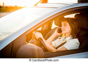 Auto, frau, fahren, Telefon