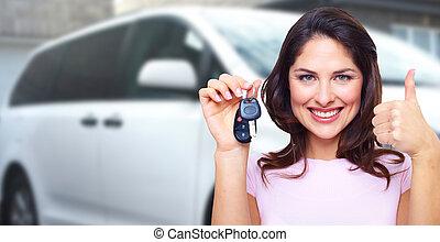 auto frau, key., besitz